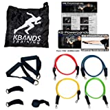 KB Powerbands | Stackable Resistance Bands Kit | Includes, 4 Bands, 2 Wrist Straps, 2 Ankle Straps, 2 Handles