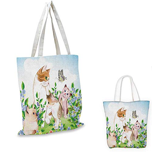 (Cat canvas shoulder bag Cute Kittens in Flower Meadow Field Happy Cats Family with Butterfly Kids Cartoon Print canvas lunch bag Multi. 15