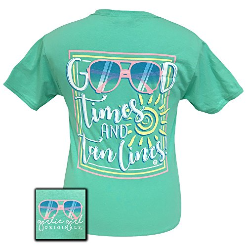 "Girlie Girl Originals ""Good Times & Tan Lines"" Short Sleeve T-shirt-Cool Mint-small"