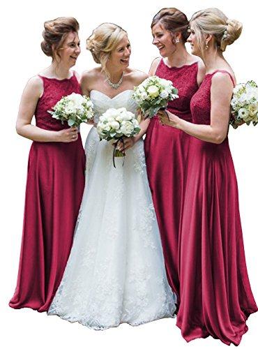 DYS Women's Lace Bridesmaid Dress Long Straps Formal Evening Wedding Dresses Burgundy US 20Plus