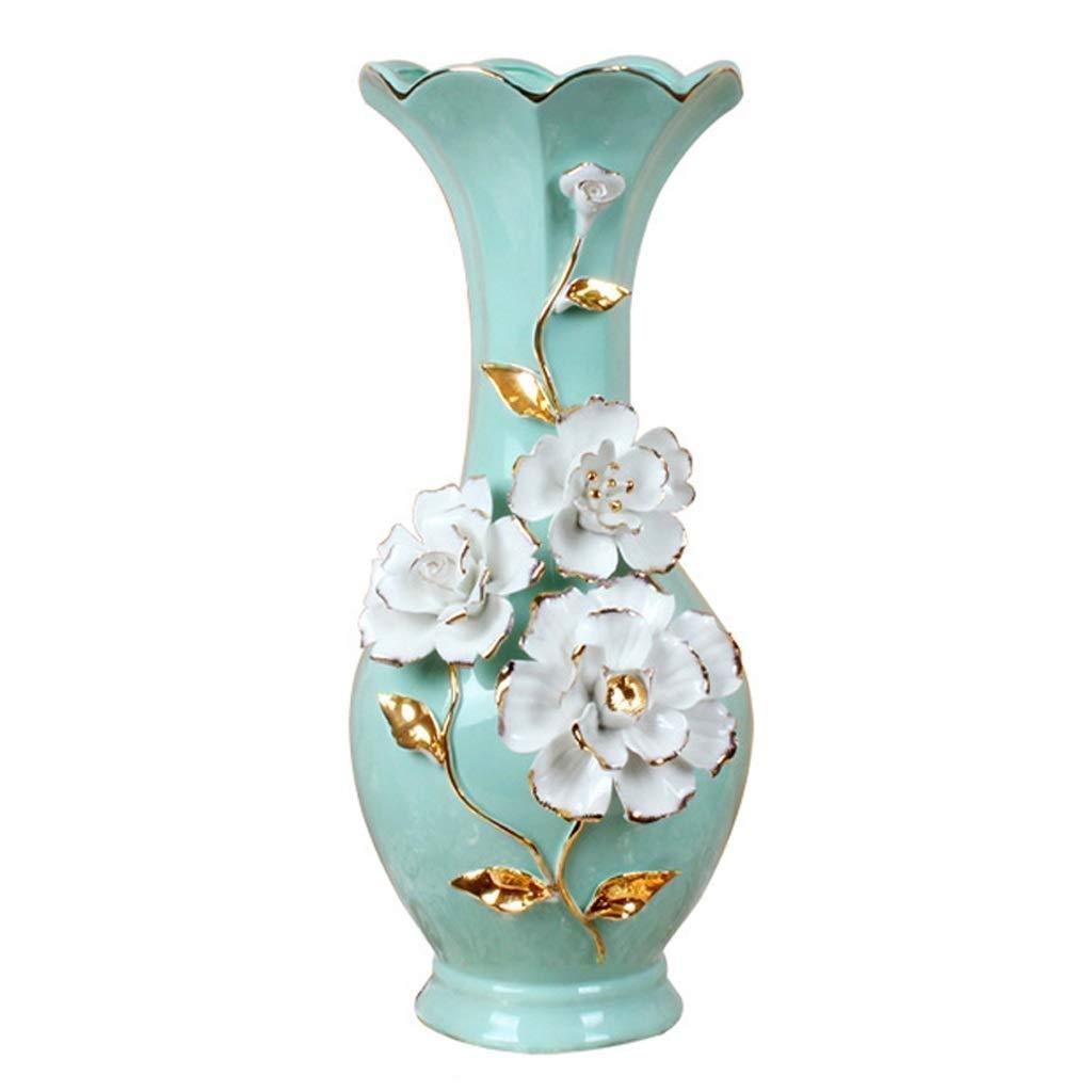 円柱装飾花瓶 小さな花瓶AXZHYZ19061270セラミックリビングルームのコーヒーテーブル花シンプルドライフラワーアレンジメントフラワーブルー20×16×40センチ 写真円柱装飾花瓶ライフ花瓶フラワーショップブーケボックス B07S8KSP15