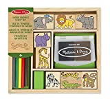 Melissa & Doug 18786 Safari Animals Wooden Stamp Set with 9 Stamps, 5 Colour Pencils and 2 Colour Stamp Pad, Multi-Colour