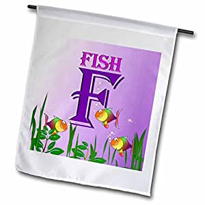 3dRose fl_52983_1 Decorative Animal Alphabet Art for Children F is for Colorful Fish in The Sea Garden Flag, 12 by 18-Inch