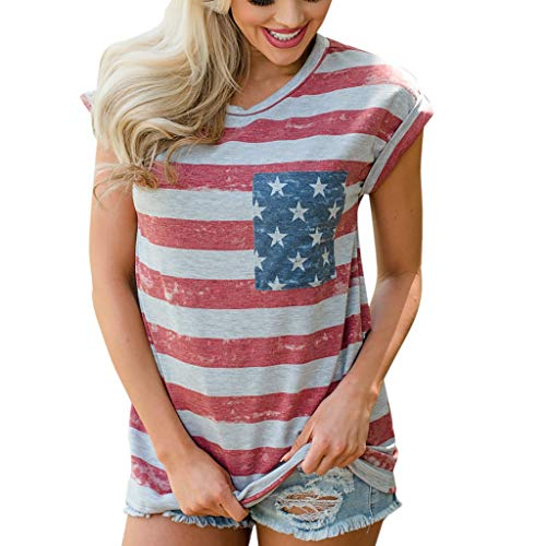 (Womens Vintage American Flag T Shirt 4th July USA Patriotic Shirt Cap Sleeve Loose Fitting Stars Stripes Print Summer Casual Tee Top Blouses Shirts)
