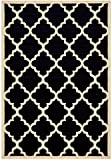 "Modela Collection Trellis Modern Area Rug Rugs (Black, 7'9″x9'10"")"
