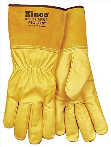KINCO 0129-L Men's Grain Pigskin TIG Welding Glove, Large, Golden