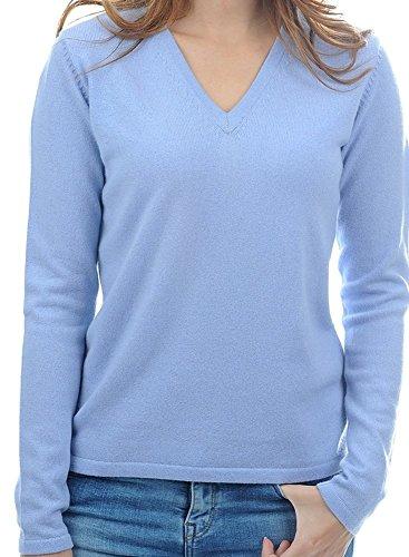 Balldiri 100% Cashmere Kaschmir Damen Pullover 2-fädig V-Ausschnitt himmelblau L