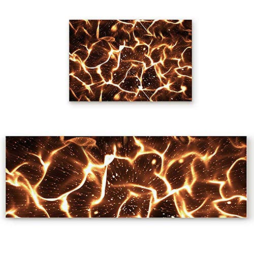 - YGUII 2 Piece Kitchen Mat Cool Flame Print Non-Slip Rubber Backing Washable Kitchen Rugs Doormat Runner Set, 16X23.6in (40x60cm) and 16X47in (40x120cm)