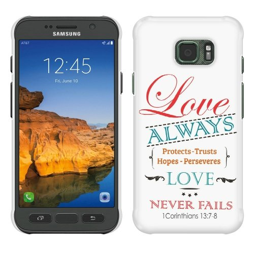 Samsung Galaxy S7 Active G891 Case, Fincibo (TM) Back Cover Hard Plastic Protector, 1 Corinthians 13:7-8