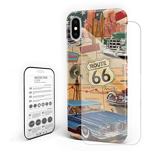 (Protective Phone Case for iPhone X Case Cover, Old Classic Car Theme American Vintage Route 66 Diner Motorcycle, Shockproof Anti-Scratch Hard Back Case with Tempered Glass Screen)