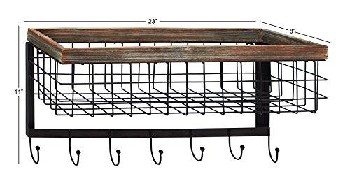 Deco 79 92677 Wood & Metal Wall Basket Hook by Deco 79 (Image #1)