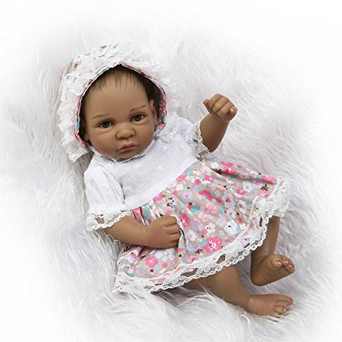 PURSUEBABY Cute Washable Full Body Soft Vinyl Lifelike Black Baby Girl Doll African American, 10 inch Gentle Touch Real Life Preemie Baby Doll Hair Anatomically Correct