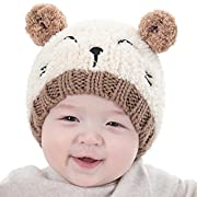 Hot Sale! Baby Boy Girls Cute Warm Knit Bear Hat Toddler Kid Winter Crochet Beanie Cap (Beige)