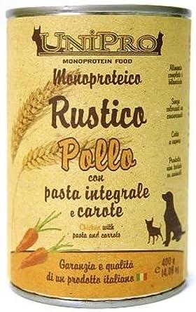 Lata de comida para gatos y perros, guiso de pollo, pasta integral y zanahoria, monoproteico, lata de 400 g: Amazon.es: Alimentación y bebidas