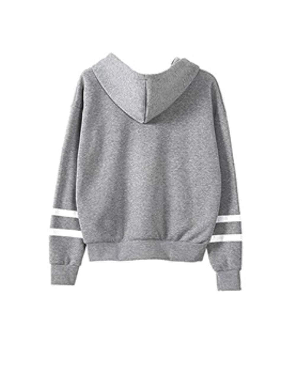 Women Hoodie Sweatshirt Teen Girls Stripe Long Sleeve Loose Pullover Jumper Sweater Jacket Shirts Tops