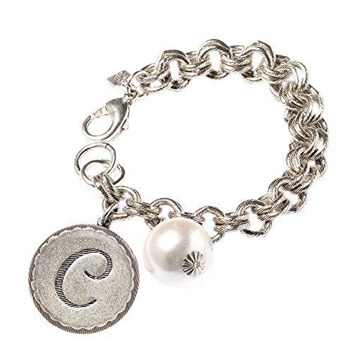 Pearl Initial Bracelet (John Wind Sorority Gal Silver-Toned Initial C Bracelet With Pearl, 8-8.5