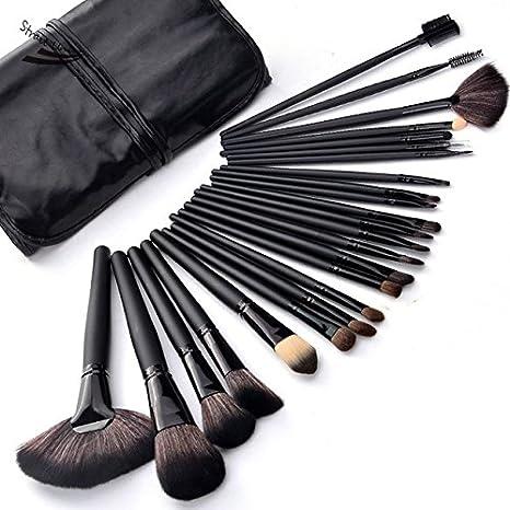 2299ae645 Brochas Maquillaje 24 Piezas Set Profesional color Negras Chicaspekes
