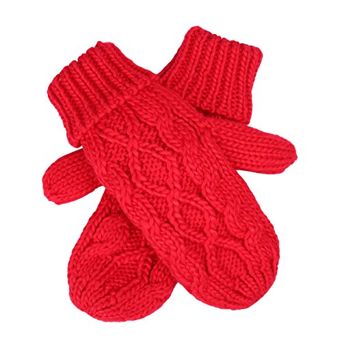 HDE Womens Winter Gloves Crochet Twist Cable Knit Hand Warmer Mittens,Red,One ()