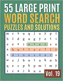 55 Large Print Word Search Puzzles And Solutions: Activity
