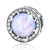 BAMOER Bead and Sterling Silver Charm For Teen Girl Blue Sky Radiant Hearts with Zirconia for Her