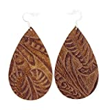 The Drop, Tooled Brown, Leather Earring with Sterling Silver Hooks from OneWild, size large. Handmade in Denver, CO USA. $1 donation goes to women and girls programs, Project1Wild.