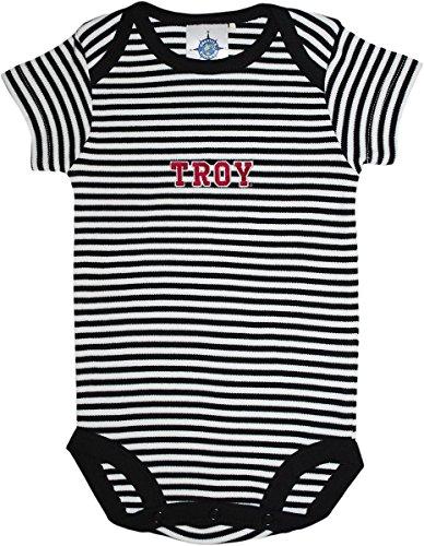 Troy University Trojans Baby Striped Bodysuit Black/White