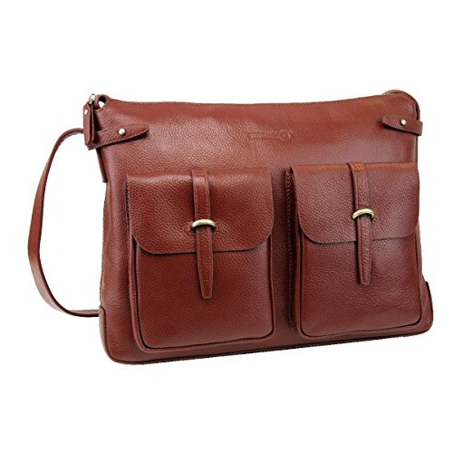 LB1 High Performance Genuine Leather Laptop Messenger Bag 13 inch for Panasonic 10.1