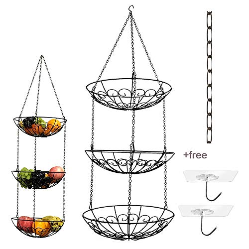 3-Tier Wire Hanging Fruit Basket with Black Chain Extender and Two Ceiling Hook - Perfect for Fruit, Vegetables, Snacks, Household Items, Ect
