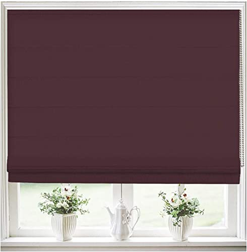 Roman Shades Window Blinds, Burgundy Lined Blackout Window Roman Shades, Fabric Custom Corded Roman Shades for Home, Window, French Door, Kitchen