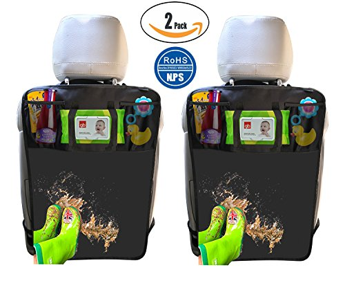 Review Of 2 Pack Kick Mats with Tissue Holder, Waterproof Car Seat Back Protector with Organizer Sto...