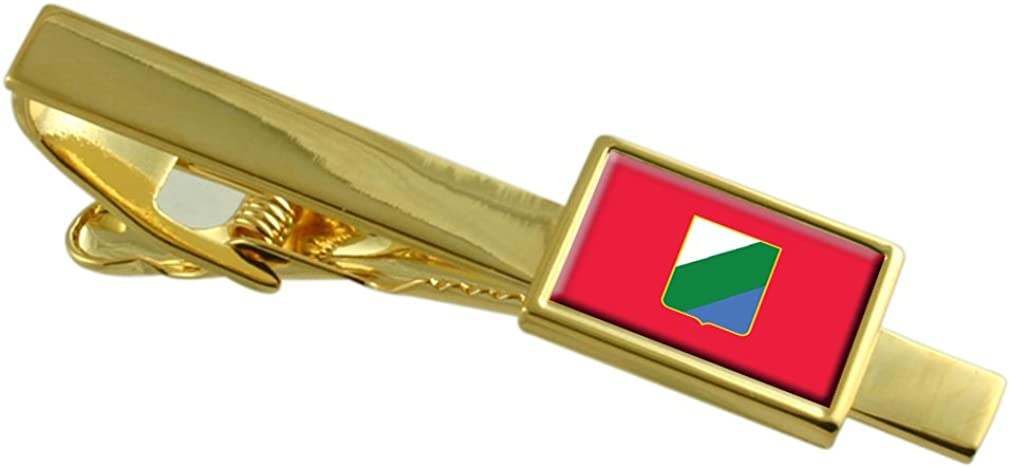 Select Gifts Abruzzo Region Italy Flag Gold-Tone Tie Clip Engraved Personalised