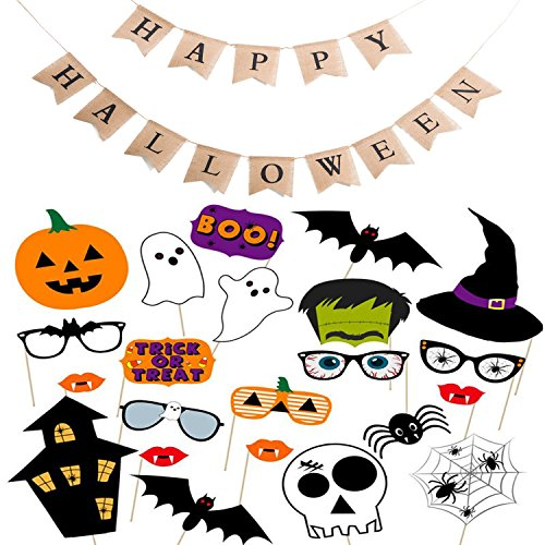 Scafiv One Set Happy Halloween Burlap Banner with
