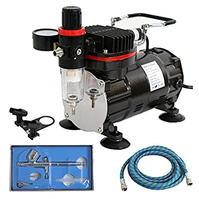 Zeny 1/5HP Multi-purpose Gravity Feed Dual-action Airbrush Compressor Kit with 6FT Hose and a Powerful Single Piston Quiet Air Compressor (TC-802K)