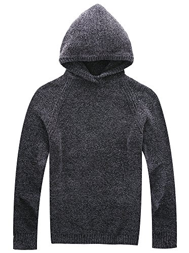 Vcansion Men's Chenille Hooded Pullover Sweater Knitted Cardigan Soft Cozy Grey L