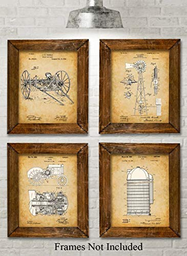 Original Farming Patent Art Prints - Set of Four Photos (8x10) Unframed - Great Gift for Farmers or Country Decor