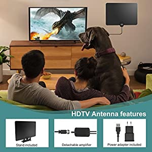 2018 VERSION HD Digital TV Antenna, Best 50 Miles Range HDTV Indoor Antenna with Amplifier Signal Booster, Power Adapter, Stand and 13.2Ft Coaxial Cable
