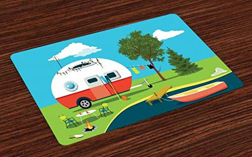 Lunarable Happy Camper Place Mats Set of 4, Cartoon Fishing Trip Scene Caravan Boat Fire Pit Camping Table Laundry Line, Washable Fabric Placemats for Dining Room Kitchen Table Decor, Green Blue