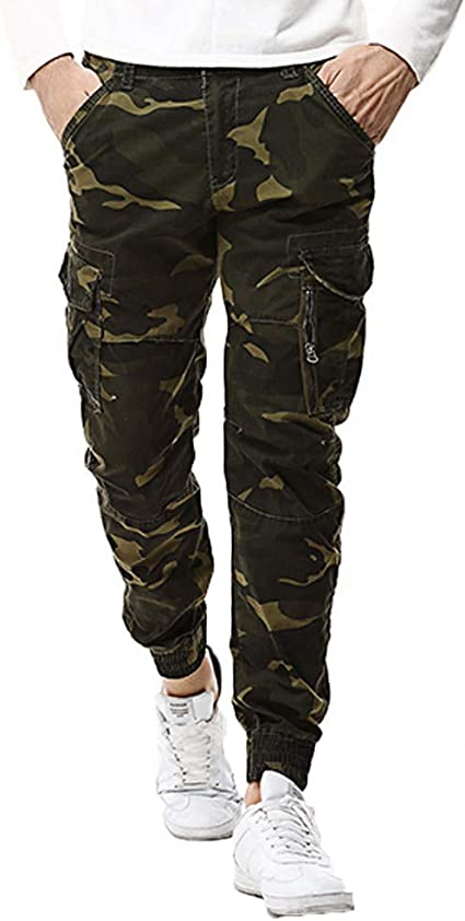 X-Future Men Outdoor Multi-Pockets Military Cargo Pants Sport Slim Jogger Pants