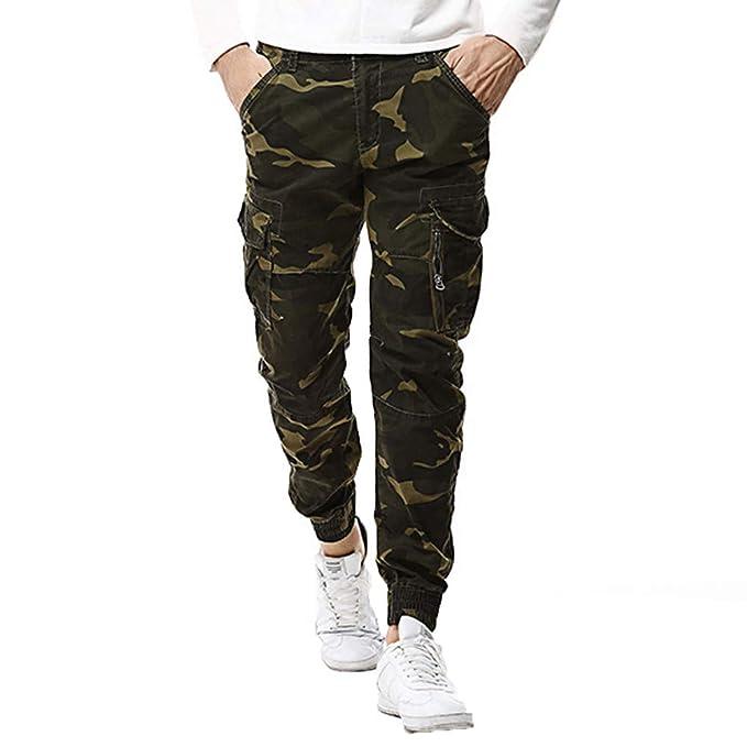2bff7d4bfd SOMESUN Uomo Casuale Cotone Multi-Pocket All'Aperto Pantaloni Mimetici  Cargo Pantaloni Lunghi Slim Fit Stretti alla Caviglia Elasticizzati Larghi  ...