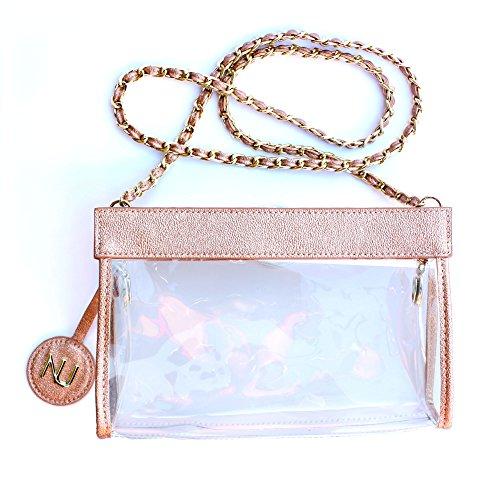 - NU Women Handbags, Clear Crossbody Stadium Handbag, Clear bag Policy Approved, Braided Chain Strap (Metallic Blush)