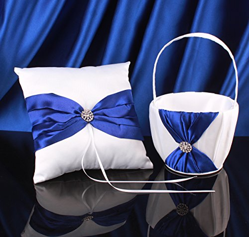 Topwedding White Satin Blue Bow Ring Pillow and Flower Girl Basket Set