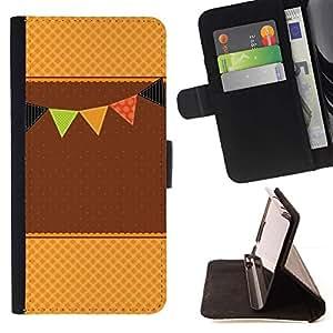 ForSamsung Galaxy S3 MINI i8190 (NOT S3) Case , Marrón Beige Evento Feliz Waffle- la tarjeta de Crédito Slots PU Funda de cuero Monedero caso cubierta de piel