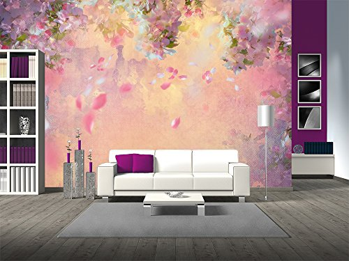 Large Wall Mural Dreamlike Pink Cherry Blossom with Petals Flying in the Wind Vinyl Wallpaper Removable Wall Decor