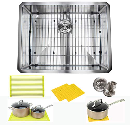 Ariel ARL-R2620 Premium 26 Inch Package by Ariel-16 Gauge Undermount Single Bowl Basin-Complete Sink Pack + Bonus Kitchen Accessories-Ideal for Home Improvement, Renovation, Stainless Steel