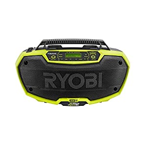 9. Ryobi P746 One+ 18-Volt Lithium Ion / AC Dual-Powered AM/FM Stereo System with USB and Bluetooth Technology
