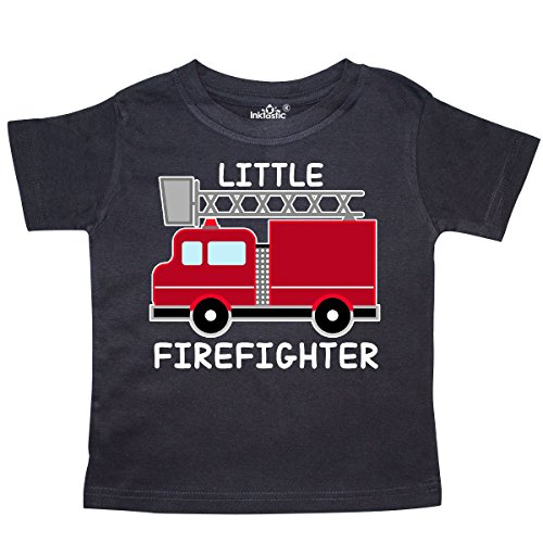 (inktastic Red Fire Little Firefighter White Text Toddler T-Shirt 5/6 Black)