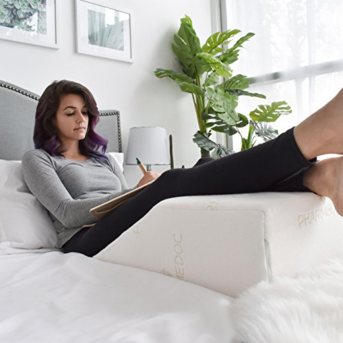 Elevating Leg Rest Wedge Pillow - Memory Foam Orthopedic Bed Pillow for Leg & Back Pain - Improved Circulation & Digestive Support – Great for Recovery from Surgery or Injury - 24 x 21 x 8 inches