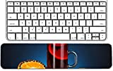 Luxlady Keyboard Wrist Rest Pad Long Extended Arm Supported Mousepad IMAGE ID: 22351563 Fragrant mulled wine in glass with spices and oranges around on blue bac