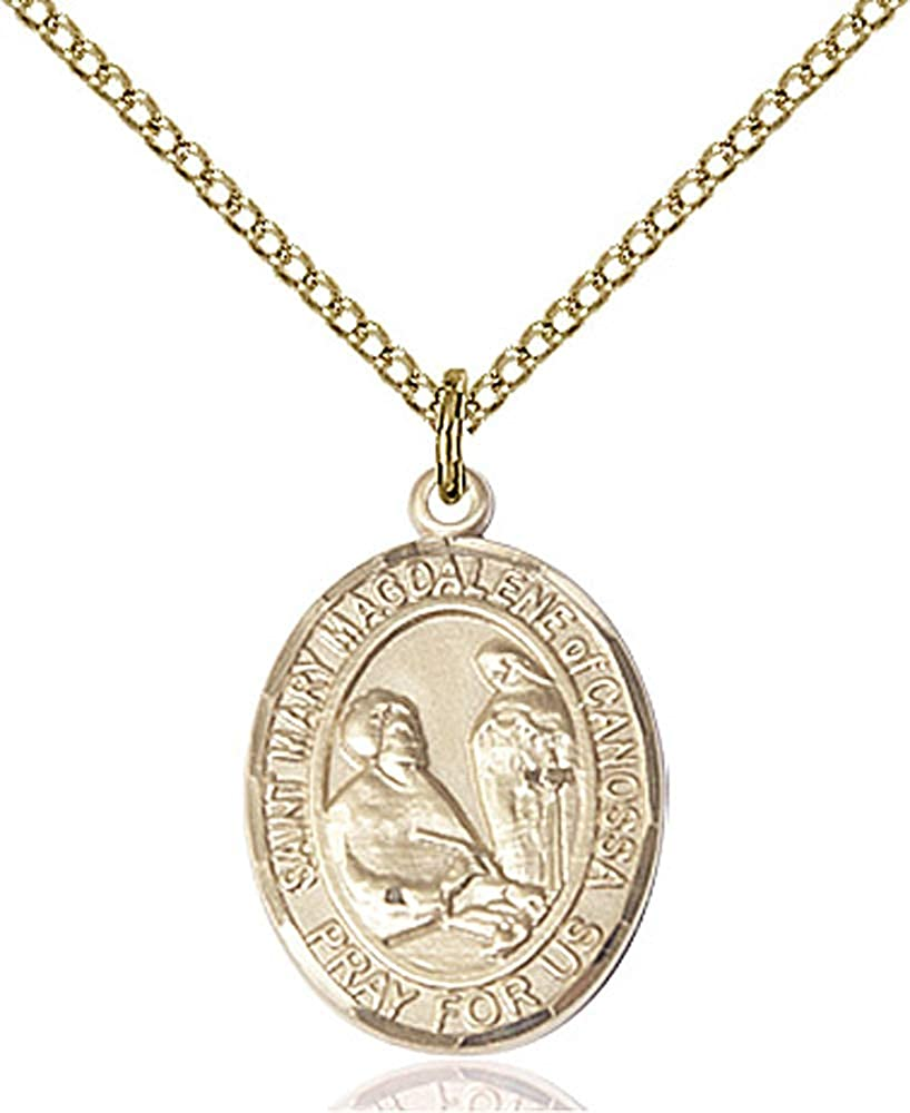 Mary Magdalene of Canossa Pendant 14kt Gold Filled St 18 inch Gold Filled Curb Chain Patron Saint 3//4 x 1//2