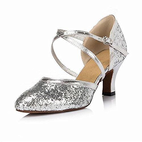 BYLE Zapatos de Baile Onecolor Samba Modern de Verano de Tobillo Jazz de de Latino Baile de Adultos Plata de Sandalias Cuero Zapatos Baile Zapatos Correas 4Sr04H